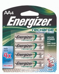 Energizer New Recharge Batteries, AA, 4-Count