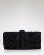 Rich pleats of satin add tempting texture to this sleek hand-held from Sondra Roberts.
