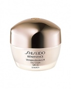 An age-defense daytime moisturizer that helps protect skin from damage caused by external aging factors such as UV rays. The appearance of lines and wrinkles are dramatically reduced, while all-day rich moisture is maintained, even under dry conditions. Newly reformulated, Shiseido Benefiance WrinkleResist24 targets every step of wrinkle formation for youthful looking skin that can resist signs of aging. The entire line contains a revolutionary breakthrough ingredient, Mukurossi Extract, which directly inhibits the activity of a wrinkle-triggering enzyme. Skin is made resistant to future signs of aging while existing signs of wrinkles are visibly improved.