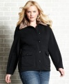 Score a luxe look with Dollhouse's plus size jacket, accented by faux fur trim-- it's a must-have for your casual lineup this season!