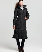 With a luxurious longer length and detachable collar, this quilted Marc New York Highlander down coat ensures cozy winter days.
