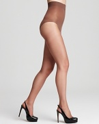 Almost invisible nude hosiery with a control top for a sleek silhouette. Style #A19
