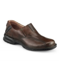A chunky leather loafer with sporty appeal and comfort to match, this pair of men's casual shoes was crafted in soft calfskin leather with a modern bike toe and contrast panels at tongue and heel. Hidden side gore panels for easy on/off. Stitching detail along welt. Leather lined. Chunky rubber sole. Imported.