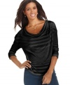 A mix of sheer and bold stripes and a loose, casual fit make this petite top from DKNY Jeans a brilliant find!