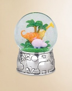 From the Jungle Parade collection, this lovely keepsake is perfect for the little explorer who's fascinated with the wild creatures found in the jungles and rainforests. Featuring a wonderful jungle image of a giraffe, elephant and hippo, all on a silverplate base of animals on parade, this whimsical piece is sure to be treasured for years to come.Elegantly gift boxedSilverplate6.25H X 4.25WImported