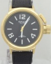 Omax Quartz Gold Watch Men's watch Large Size Case Black Leather Band
