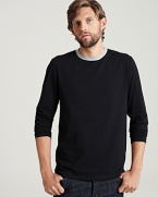 Long sleeve crewneck tee shirt in a comfortable, lightweight cotton. Contrasting, ringer collar.