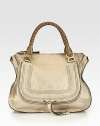 EXCLUSIVELY AT SAKS in Metallic Beige. Tennis-wrapped top handles complete this roomy carryall design, sugarcoated in metallic calfskin leather. Double tonal top handles, 6½ dropTop zip closureHidden open pocket under flapOne inside zip pocketOne inside open pocketCotton lining17W X 13H X 6DMade in Italy