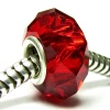Sterling Silver Birthstone Red Crystal European Bead Charm January