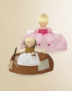 Reversible doll has two contrasting outfits in one: Cinderella in taffeta and cotton rag dress with kerchief, mouse and broomstick; and the princess beauty in a taffeta and organza gown. 10H X 10W X 2½D Imported Recommended for ages 2 and up