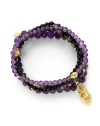 THE LOOKSet of four beaded braceletsOwl charmAmethyst, agate and onyx stones22k goldplated vermeil sterling silver charm accentsElastic pull-on styleTHE MEASUREMENTWidth, about 2.5ORIGINMade in USA of imported materials