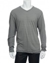 Alfani Red Men's Gray Horizontal Striped V-Neck T-Shirt