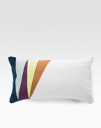 Add a stylish touch of color to any room with this welcoming pillow defined by colorblock detail along the left side.12 X 20CottonMachine washImported