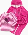 Show off her big heart in this sparkly shirt, hoodie and pant set from Nannette.
