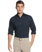 Let everyone know solid decisions are your forte with this dress shirt from Calvin Klein.