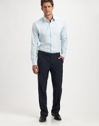 Impeccably tailored in a lightweight cotton blend, this modern-fitting silhouette blends perfectly into your work and after-work wardrobe.Button-front78% cotton/18% nylon/4% spandexDry cleanImported