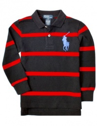 Polo Ralph Lauren Tod Boys Striped Big Pony Mesh Polo, Red, 3/3T