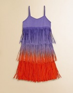 Inspired by the roaring 20's, this eye-catching, ombré fringed frock is perfect for swirling and twirling.Sweetheart necklineSleevelessPullover stylingRayonHand wash coldImported