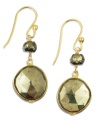 Add a touch of glamour. Faceted pyrite drops (20-1/3 ct. t.w.) and a luxe look to a stunning pair of drop earrings. Crafted in 18k gold over sterling silver. Approximate drop: 1 inch.
