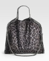 An animal printed faux suede style with shiny link chain trim in a chic fold-over design that follows the brand's vegetarian initiatives.Double chain top handles, 5 dropChain shoulder strap, 11 dropMagnetic snap closureOne inside zip pocketFully lined14W X 14½H X 3DMade in Italy