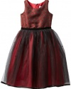 Us Angels Girls 7-16 Jacquard And Tulle Dress, Red, 7