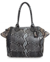 A classic, tailored satchel takes on a rocker-chic look in metallic python print with a soft sheen finish. Featuring sturdy straps, plenty of pockets and antique silver-tone hardware, this silhouette from Carlos by Carlos Santana is the must-have of the season.