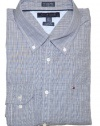 Tommy Hilfiger Men Custom Fit Plaid Long Sleeve Logo Shirt
