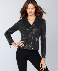 Go for all out rocker glam with INC's petite cropped moto jacket, featuring asymmetrical details and a fully sequined look.