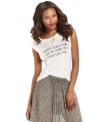 Add a cheeky twist to your style with this RACHEL Rachel Roy what's a nice girl like me doing in a place like this printed tee -- perfect over denim or the season's chiffon skirts!