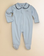 Rendered in plush pima cotton, this adorable coverall is includes a snap-front closure and a sweet Peter Pan collar with colorful trim.Peter Pan collarLong sleevesSnap frontPima cottonMachine washImported Please note: Number of snaps may vary depending on size ordered.