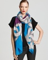Plan your outfit around this bright blue and purple scarf from DIANE von FURSTENBERG, featuring an oversized chain print.