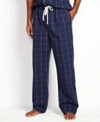 Take this classic to bed for a timeless look with these windowpane check pants from Nautica.