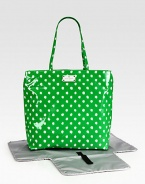 A mod, polka dot baby bag with matching changing pad for the stylish and sophisticated mom on-the-go.Double top handles, approximately 10 dropSpring clip strap top closeOne inside open pocketOne inside zip pocketWipe-clean liningPoplin-backed nylonApproximately 13½W X 12H X 10DImported