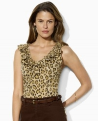 Lauren by Ralph Lauren's feminine ruffled neckline petite top is modernized with a sultry animal-print pattern.