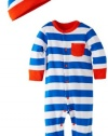 Offspring - Baby Apparel Baby-Boys Newborn Offspring Strong Blue Stripe With Hat, Blue, 3 Months