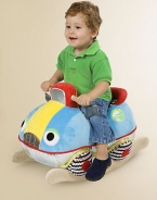 Put the pedal to the metal and rock on this soft, colorful, smiling, chubby stuffed car that sits atop a solid wooden rocker frame.About 16H X 13D X 24LSuitable for ages 1 year and upImported