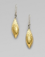 From the Palu Collection. A beautiful, drop style in radiant 22k gold and sleek sterling silver with an elegant, hammered texture detail. 22k goldSterling silverDrop, about 2¼Hook backImported