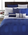 Add an extra layer of comfort to your bed with this Links Cobalt coverlet from Hotel Collection, featuring a solid landscape of weaved patterns.