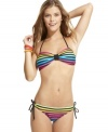Bright stripes make a stylish splash on this California Waves brief bottom -- adjustable side ties add flirty flair!