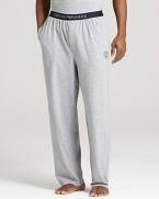 Kick back in total luxe style. Emporio Armani's lounge pants are crafted in a super soft cotton blend for maximum comfort.