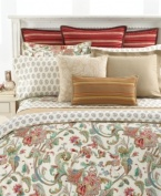 This unique Antigua sham from Lauren Ralph Lauren features a soft red, sky blue and desert khaki floral design. The edges are finished with natural cord piping and a 1 1/2 tailored flange, creating the perfect framework for this exquisite look.