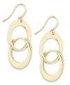 Alfani's dangling drop earrings bring a a chic, double link design. Crafted in gold tone mixed metal. Approximate drop: 2 inches.