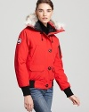 A bomber silhouette shows off a sporty look from outerwear expert Canada Goose.
