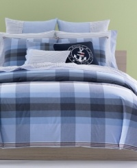 Set sail with Tommy! The Heritage comforter set makes over your bed in preppy, Tommy Hilfiger style with its yarn-dyed handkerchief plaid finished with red accents. Features pure cotton. (Clearance)