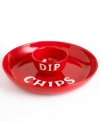 Snack with a side of fun. Tomato-red earthenware with white block letters gives this chip and dip set a cool, novelty feel. From Tabletops Unlimited's collection of serveware and serving dishes.