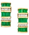 Fresh, sparkling baguette-cut emeralds (1-3/8 ct. t.w.) and glittering round-cut diamonds (1/8 ct. t.w.) combine for colorful sophistication. Set in 14k gold.