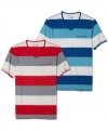 Bold stripes and a sleek v-neck cut give this INC International Concepts tee a modern look.