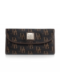 Dooney & Bourke celebrates their timeless looks with a fresh 1975-themed signature print that makes the continental wallet all the more stylish.