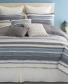 Sleek sophistication. Bryan Keith's Ventura comforter set features grey and cream horizontal stripes and reverses to grey, cream and blue vertical stripes. European shams feature an intricate cream-on-cream embroidered pattern for added texture. Three coordinating decorative pillows tie together this fresh, chic look.