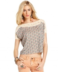 A floral print & macrame trim adds a girly-crafted appeal to this Free People top for a pretty boho look!